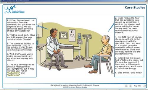 L'outil de formation en ligne aide les médecins à reconnaître les signes et les symptômes de la maladie de Parkinson.