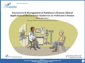 Une copie-écran tirée du module d'apprentissage en ligne illustrant un médecin discutant avec son patient de l'évolution des symptômes moteurs.
